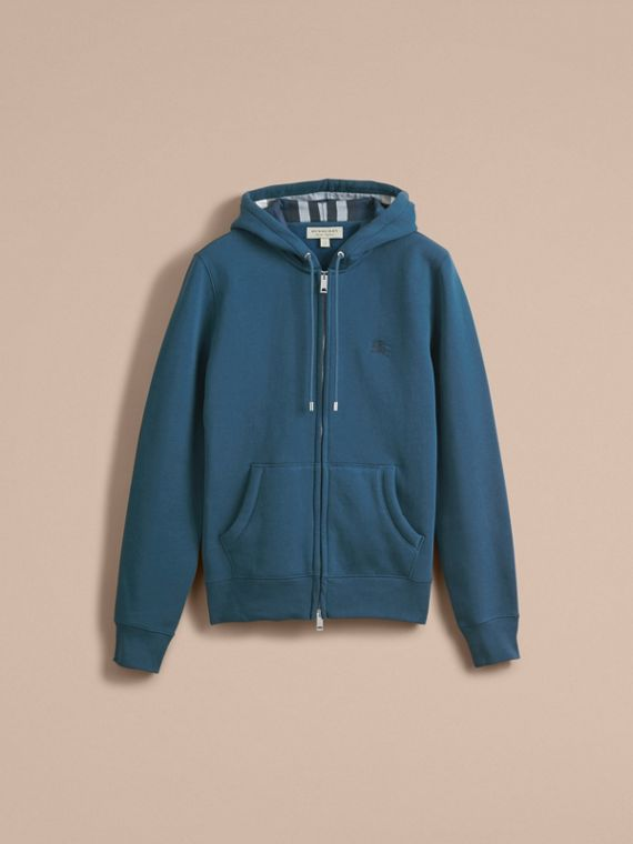 Hooded Cotton Jersey Top in Mineral Blue - Men | Burberry - cell image 3