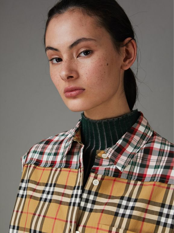 Contrast Check Sleeveless Shirt in Antique Yellow - Women | Burberry United Kingdom - cell image 1