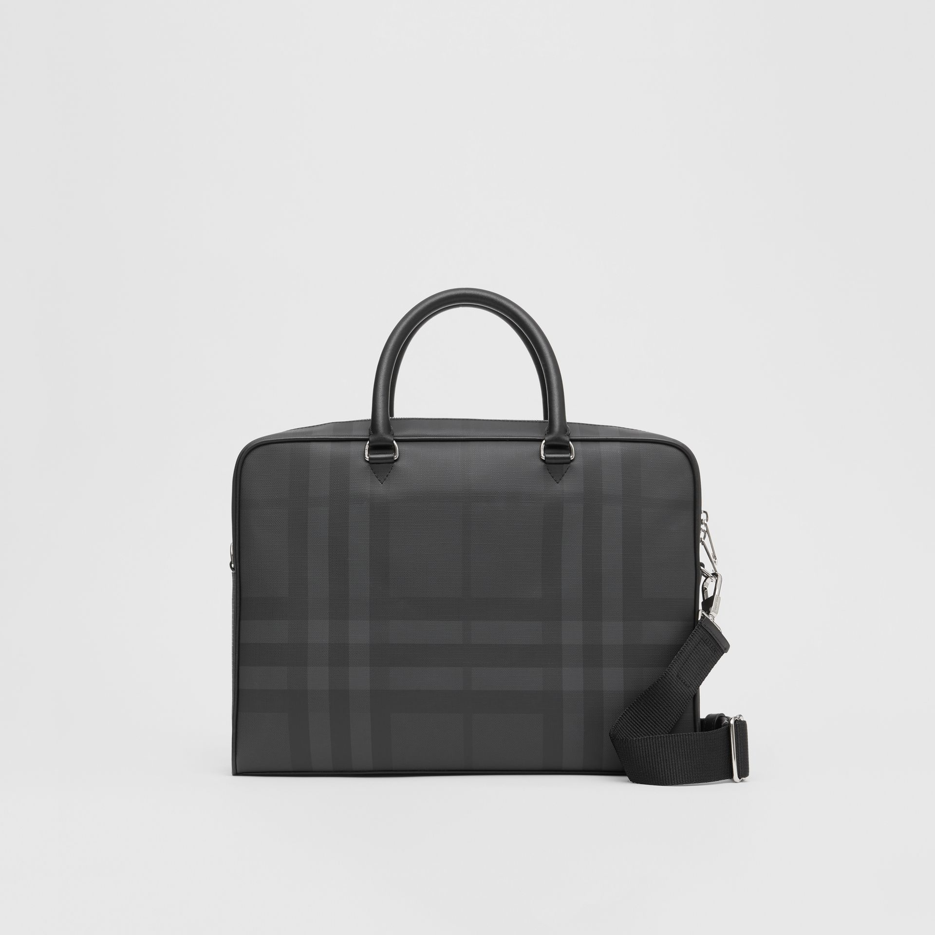 London Check and Leather Briefcase in Dark Charcoal - Men | Burberry Australia - gallery image 0