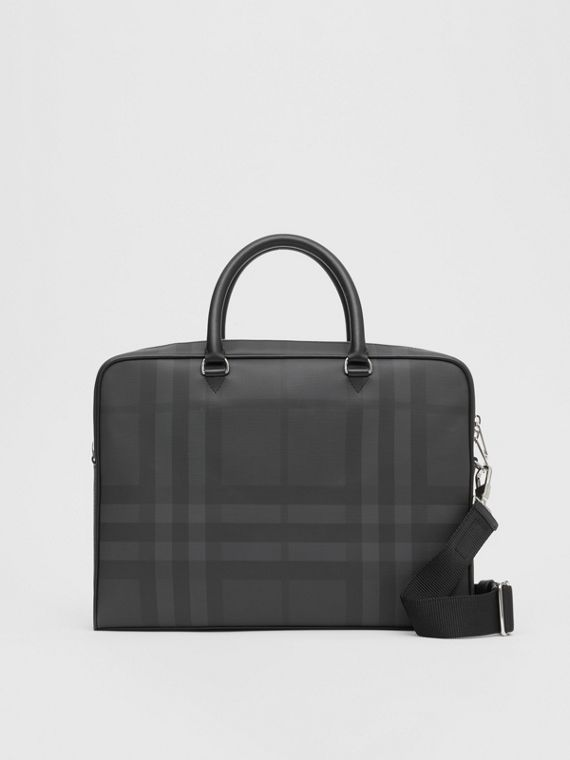 Attaché-case en cuir et London check (Anthracite Sombre)