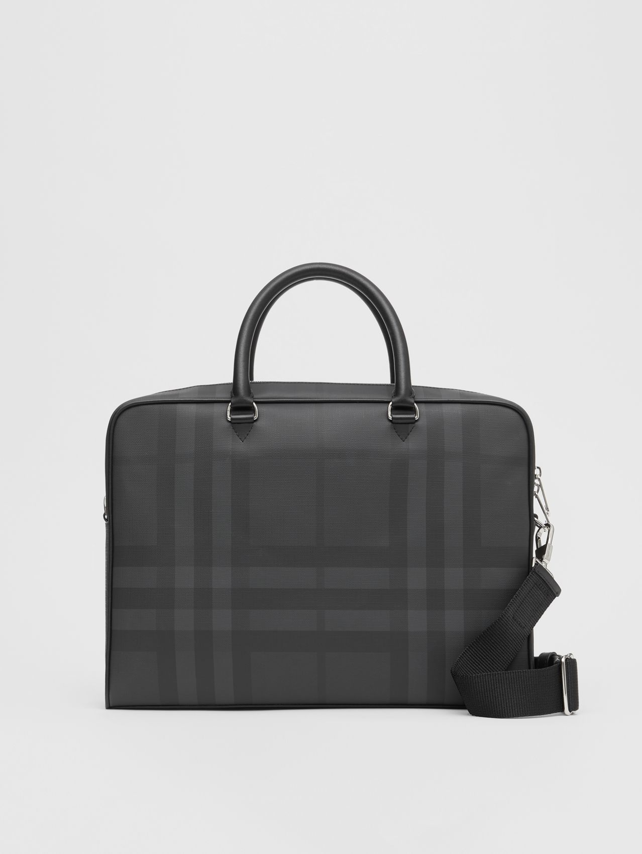 London Check and Leather Briefcase (Dark Charcoal)