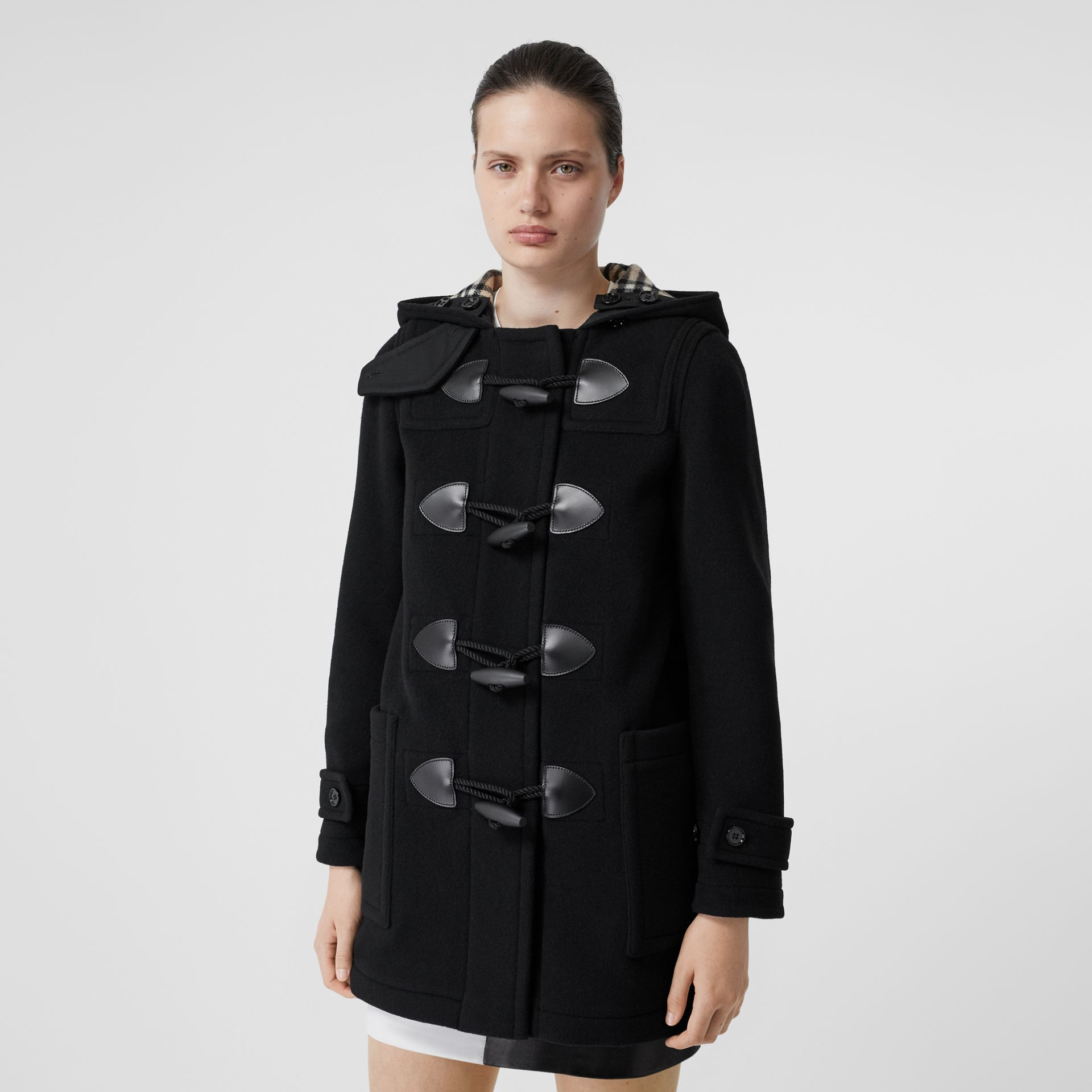 Wool Cashmere Blend Duffle Coat in Black - Women | Burberry - gallery image 5