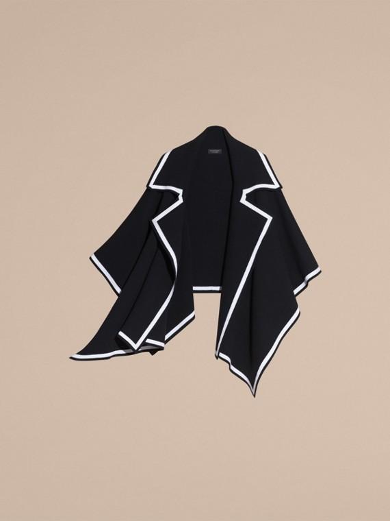 黑色/自然白 羊毛喀什米爾混紡斗篷 黑色/自然白 - cell image 3