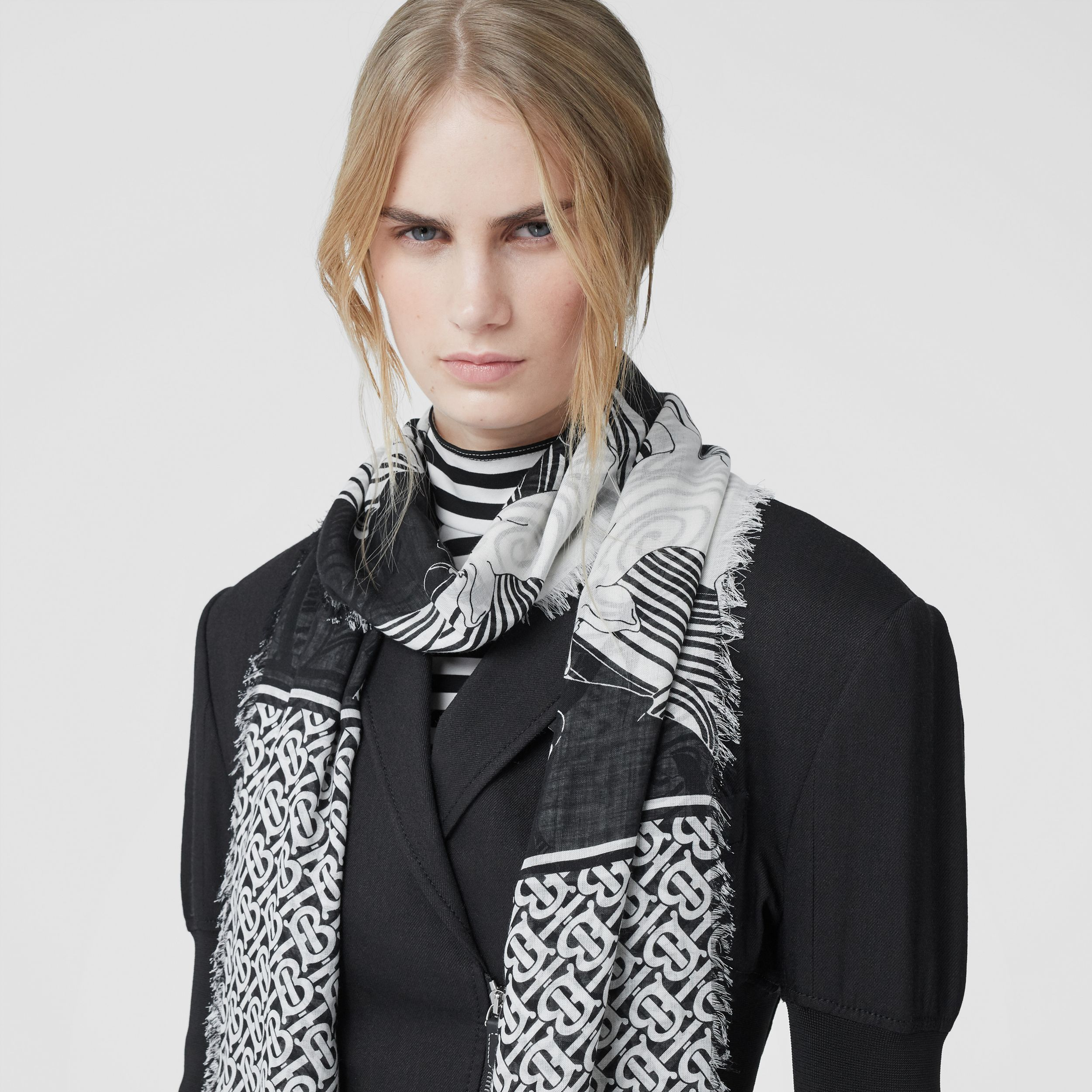 Deer and Monogram Print Wool Silk Scarf in Monochrome | Burberry - 3