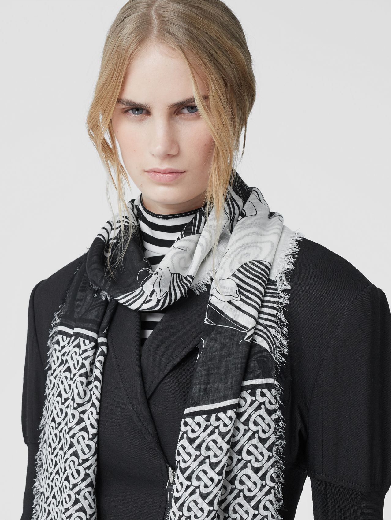 Deer and Monogram Print Wool Silk Scarf (Monochrome)