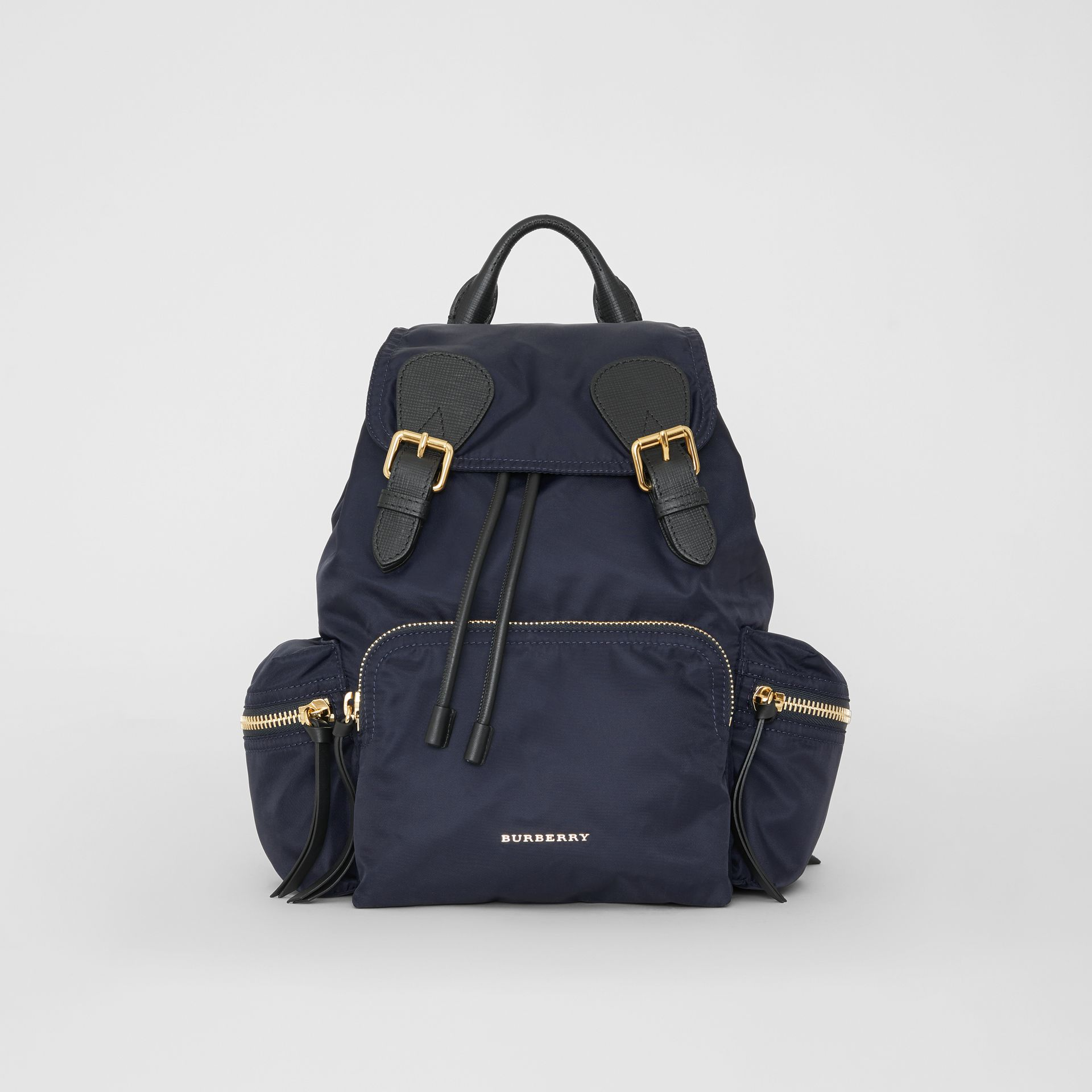 The Medium Rucksack in Technical Nylon and Leather in Ink Blue - Women | Burberry - gallery image 0