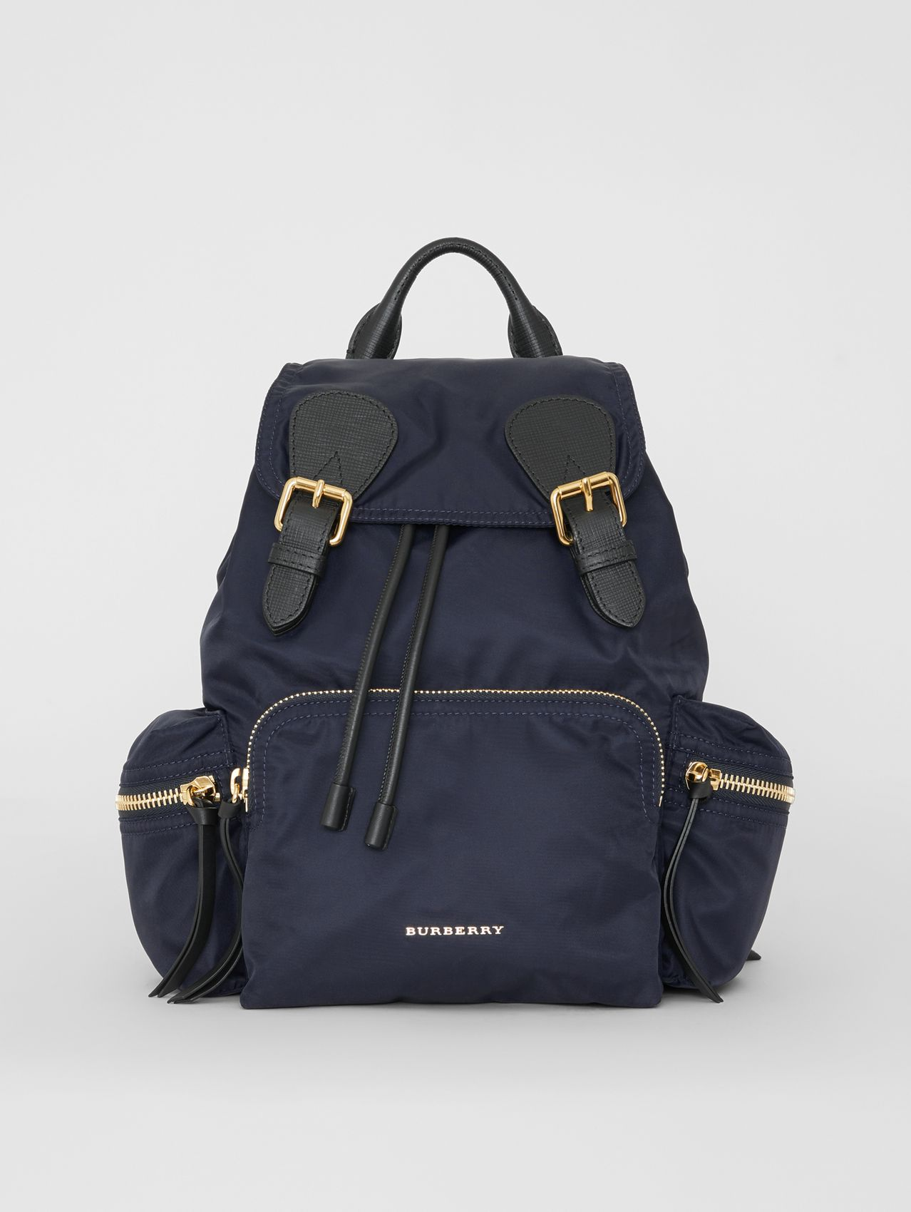 The Medium Rucksack in Technical Nylon and Leather in Ink Blue