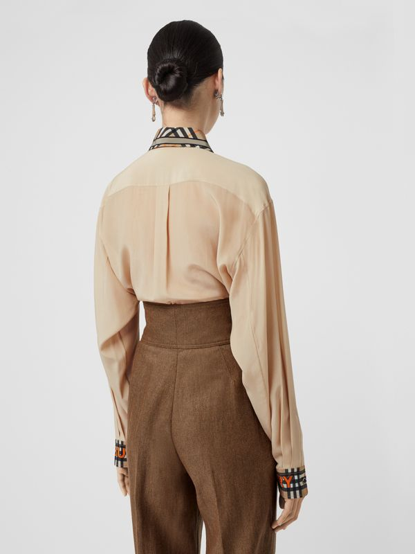 Unicorn Print Silk Shirt in Light Camel - Women | Burberry - cell image 2