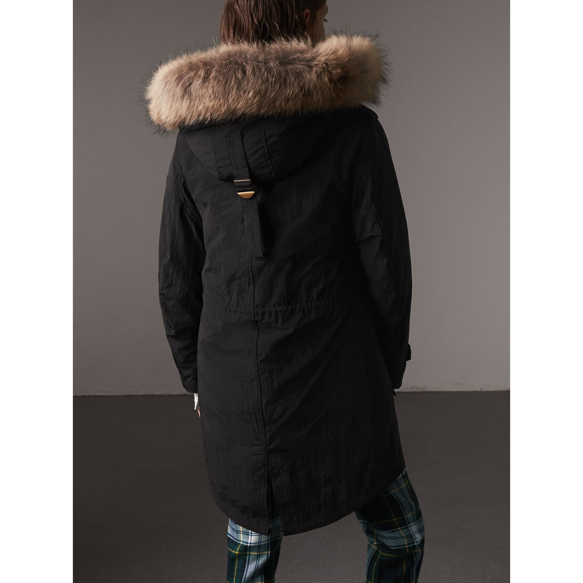 Raccoon Fur and Shearling Trim Parka with Warmer in Black - Women | Burberry United Kingdom - gallery image 3