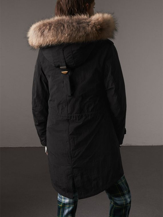 Raccoon Fur and Shearling Trim Parka with Warmer in Black - Women | Burberry - cell image 2