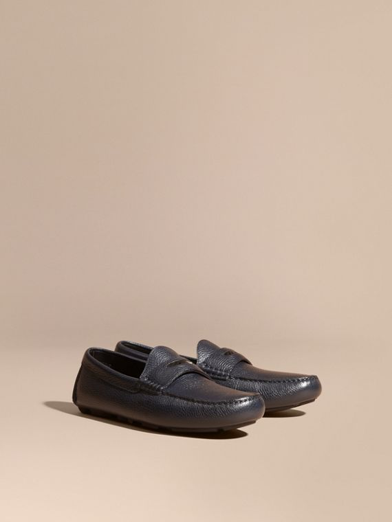 Grainy Leather Loafers with Engraved Check Detail Navy