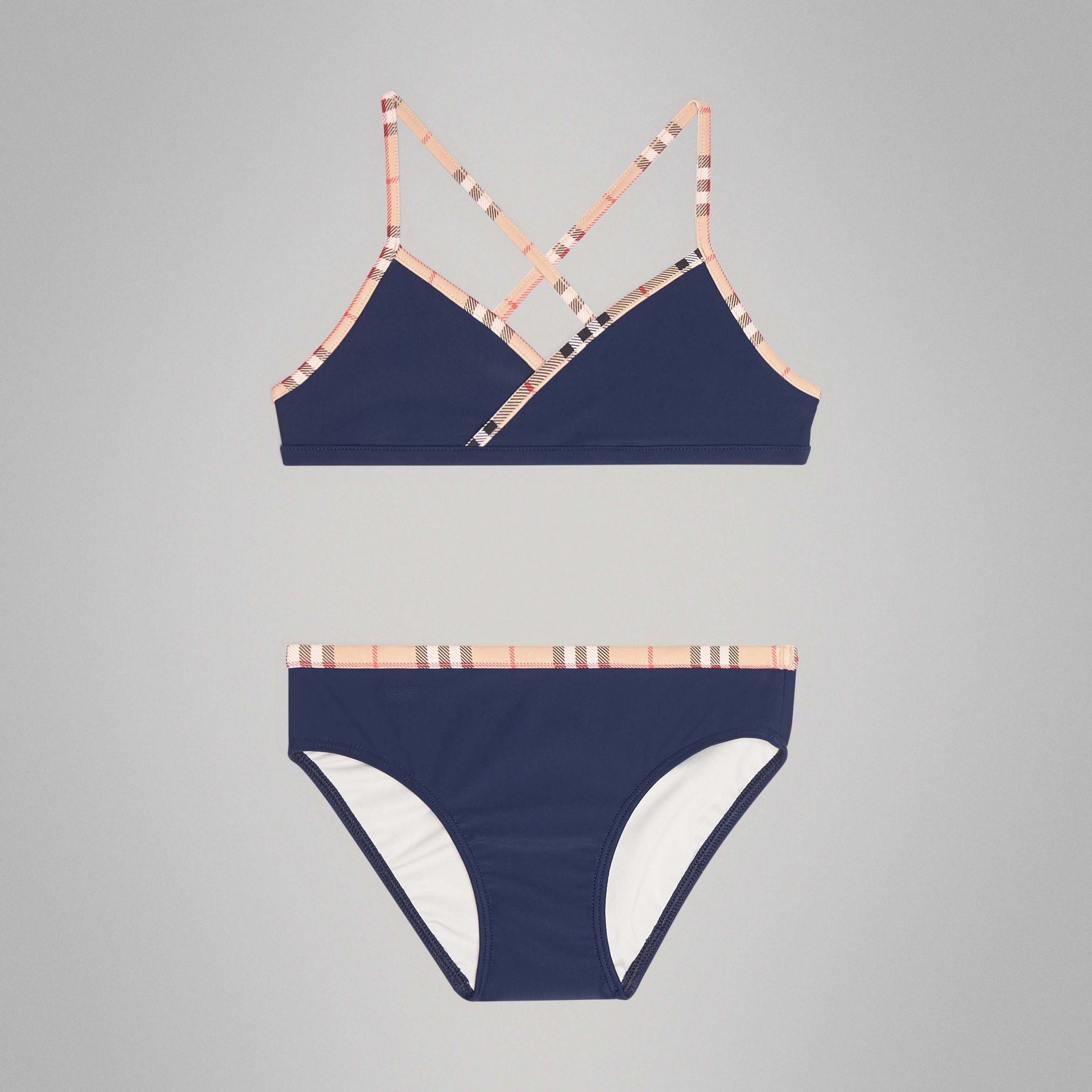 Check Trim Bikini in Navy | Burberry Australia - gallery image 0