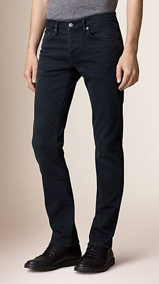 Straight Fit Washed Indigo Jeans
