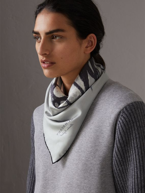 Pallas Helmet Motif Silk Square – Small in Grey - Women | Burberry United States - cell image 2
