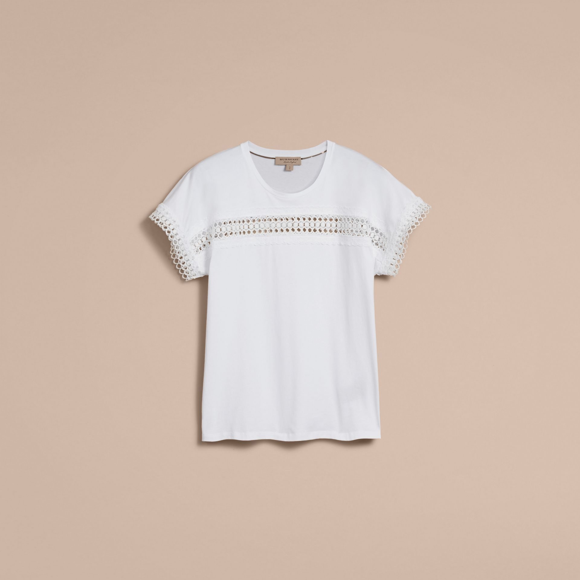 Lace Detail Cotton T-shirt White - gallery image 4