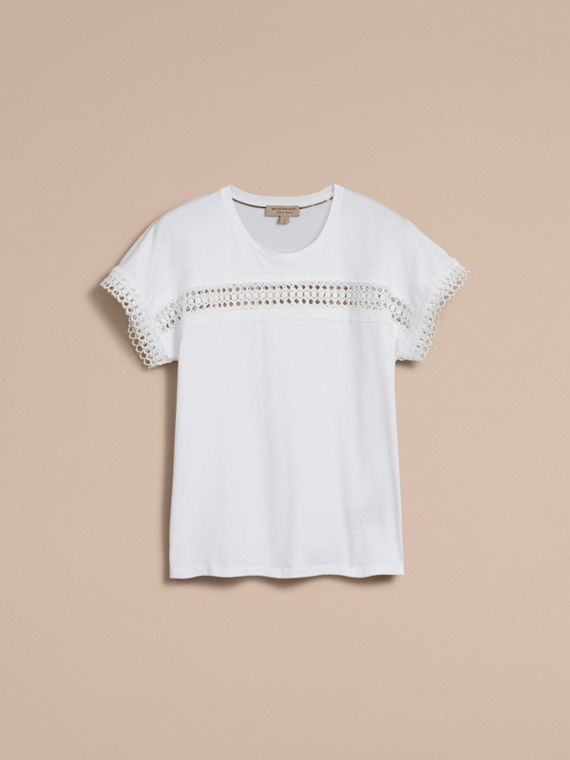 Lace Detail Cotton T-shirt White - cell image 3