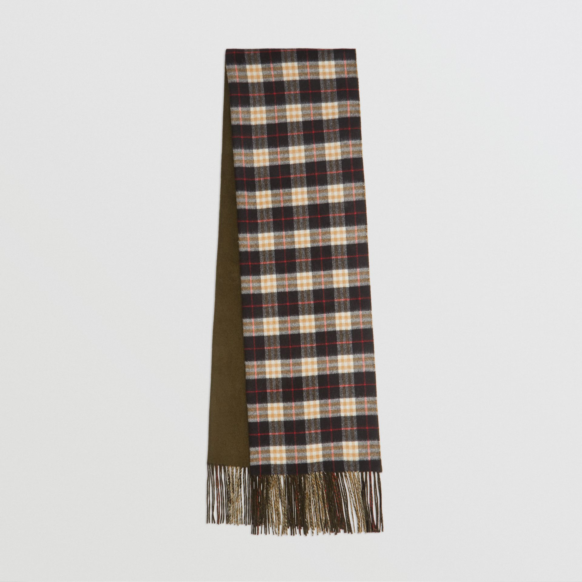 Colour Block Vintage Check Cashmere Scarf in Antique Green | Burberry Australia - gallery image 0