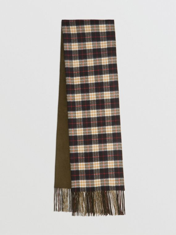 Colour Block Vintage Check Cashmere Scarf in Antique Green