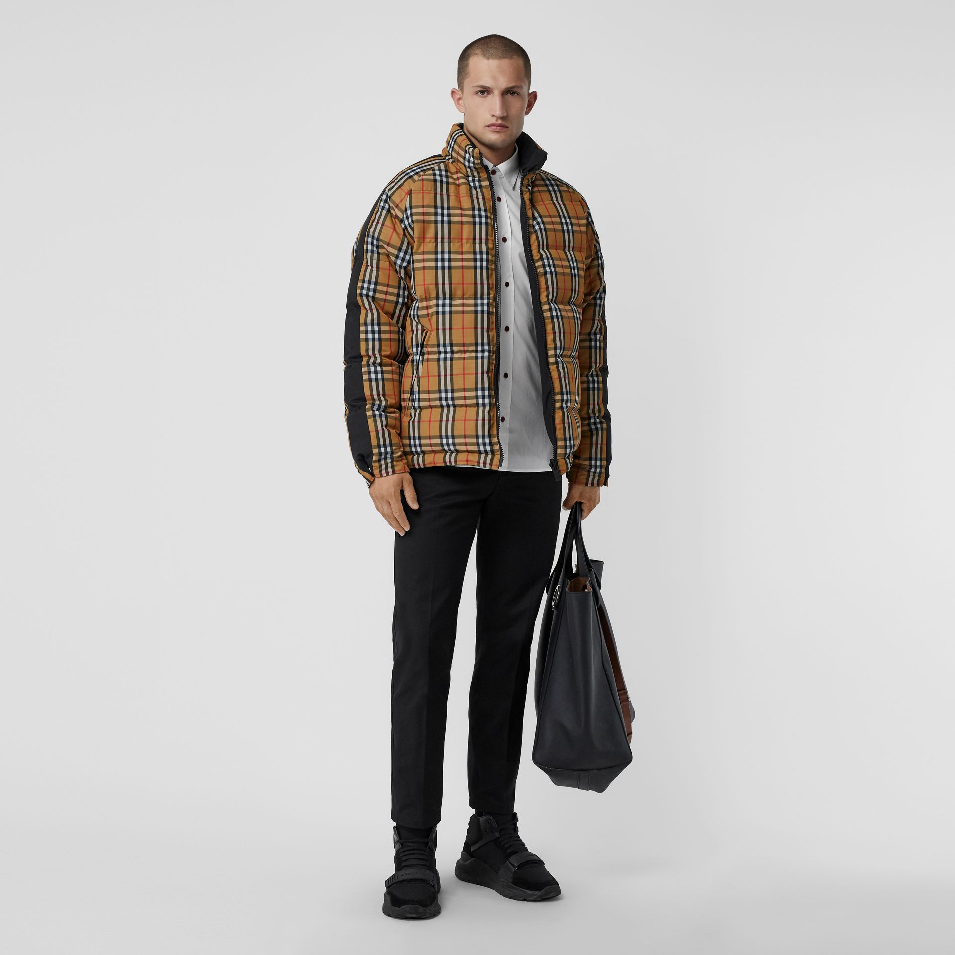Reversible Vintage Check Down-filled Puffer Jacket in Antique Yellow - Men | Burberry Hong Kong - gallery image 0