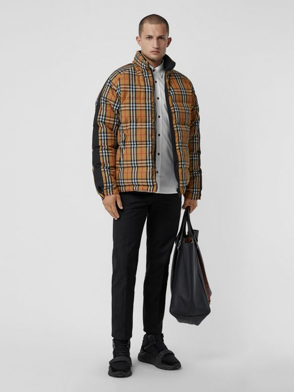 Reversible Vintage Check Down-filled Puffer Jacket in Antique Yellow