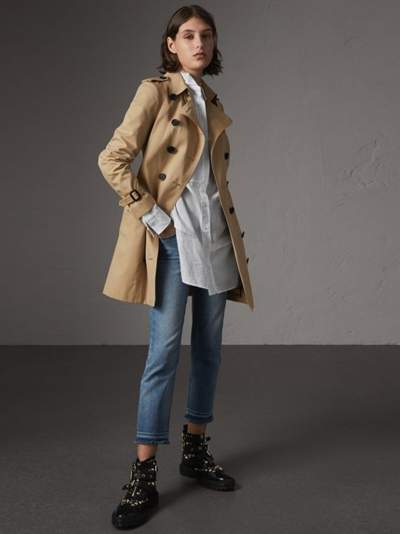 Trench coat Sandringham de longitud media (Miel)