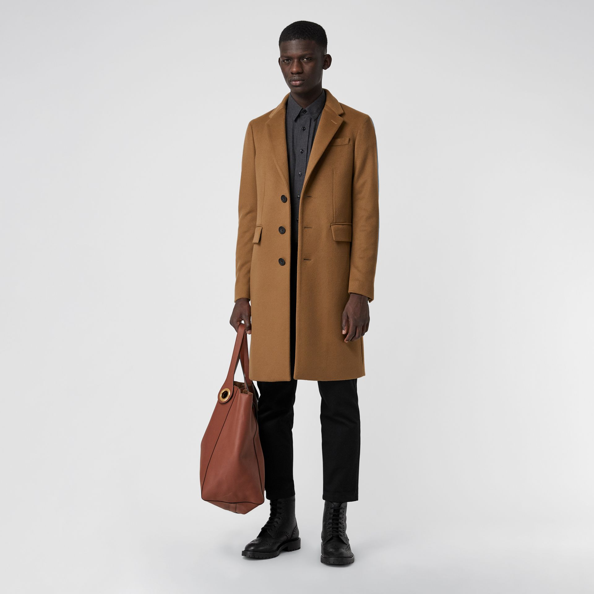 Wool Cashmere Tailored Coat in Dark Camel - Men | Burberry Australia - gallery image 0
