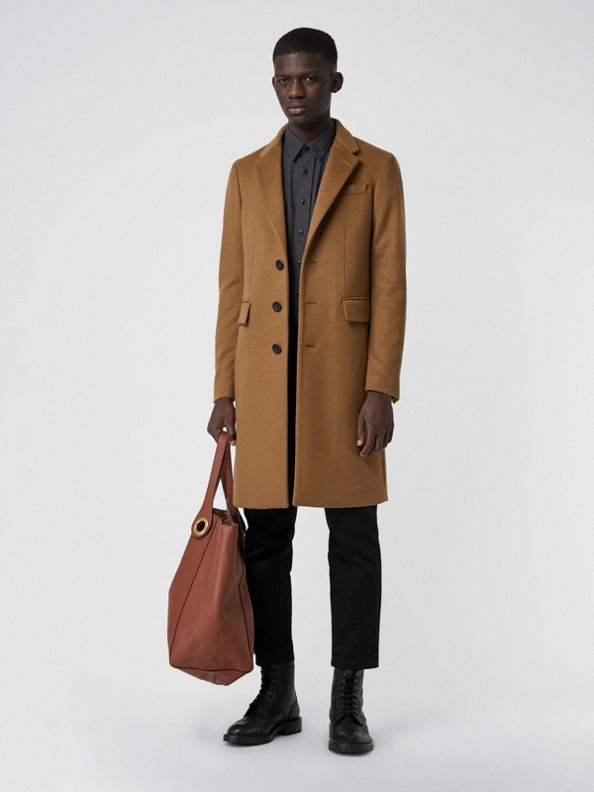 Wool Cashmere Tailored Coat in Dark Camel
