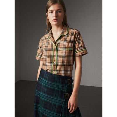 Burberry Contrast Piping Check Cotton Pyjama-style shirt Recommend Buy Cheap Looking For Online Cheap Quality Wholesale Price Cheap Price T1qaL