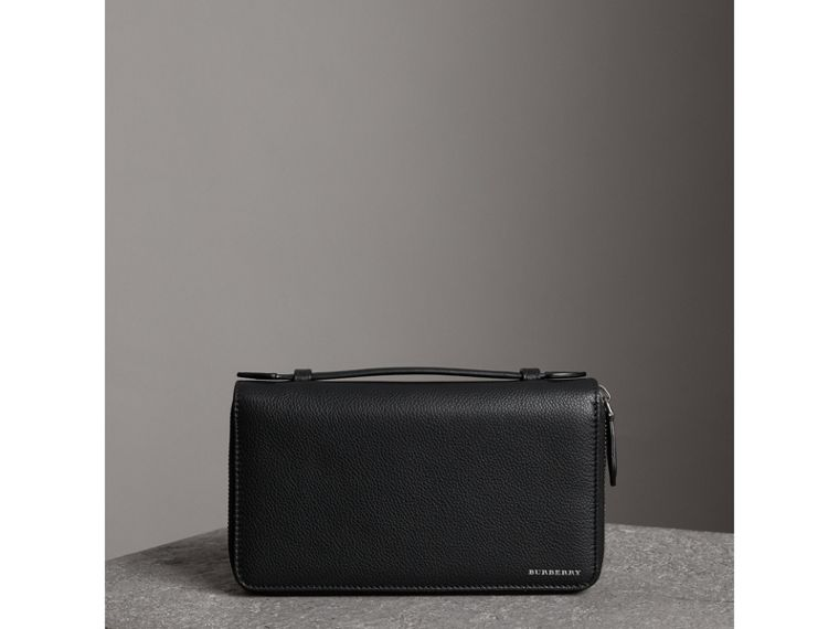 Grainy Leather Travel Wallet in Black - Men | Burberry - cell image 4