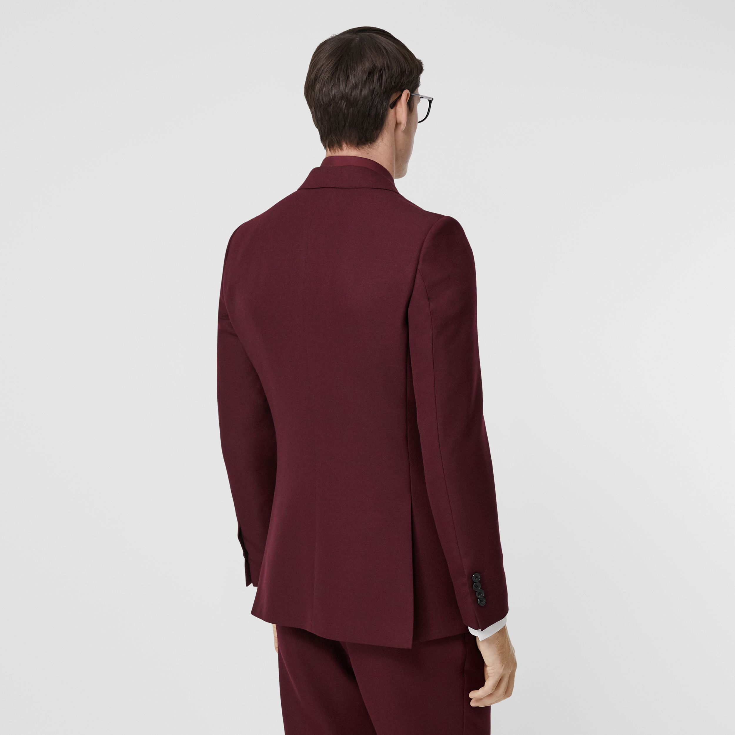 English Fit Wool Mohair Tailored Jacket in Deep Burgundy - Men | Burberry - 3