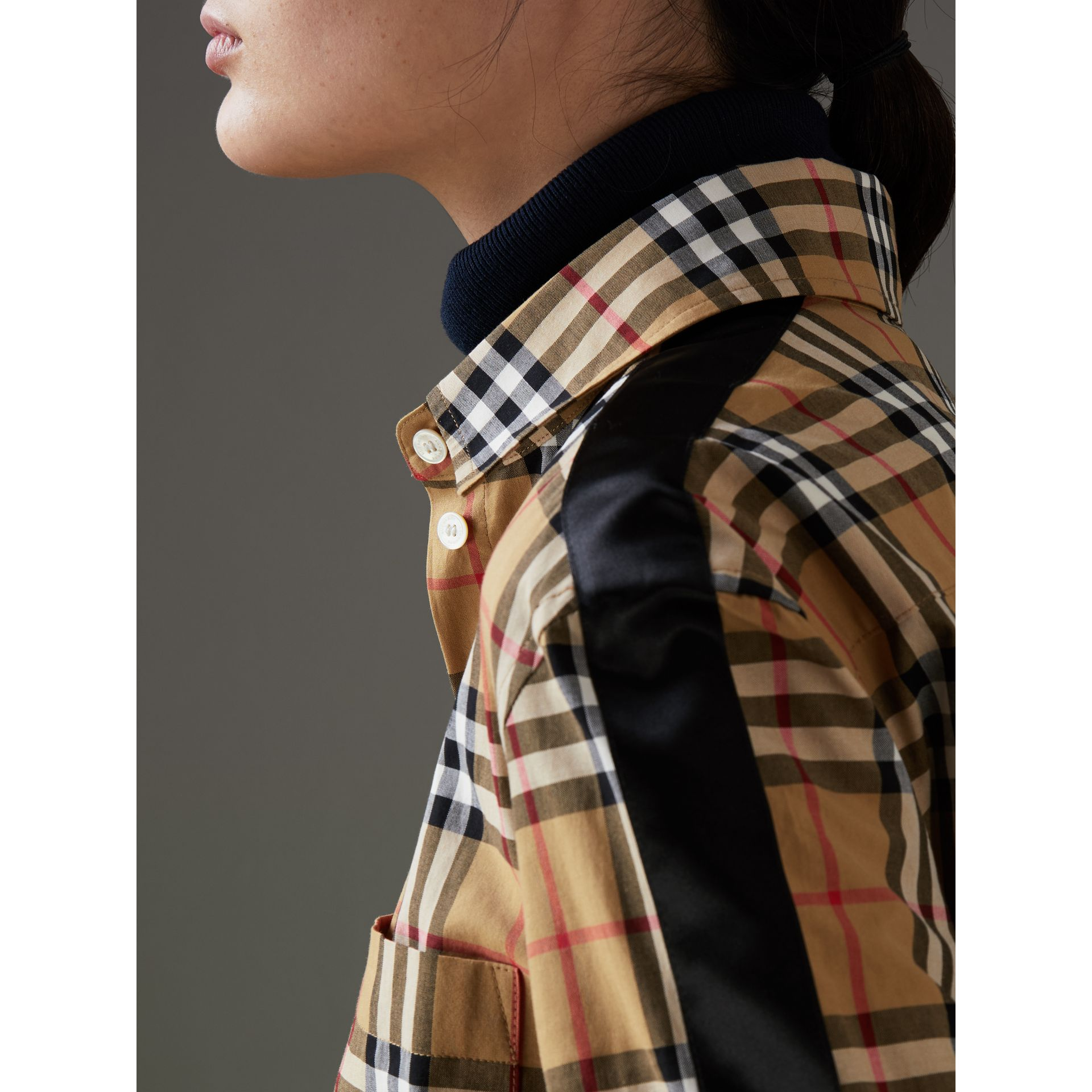 Stripe Detail Vintage Check Cotton Shirt in Antique Yellow - Women | Burberry - gallery image 1