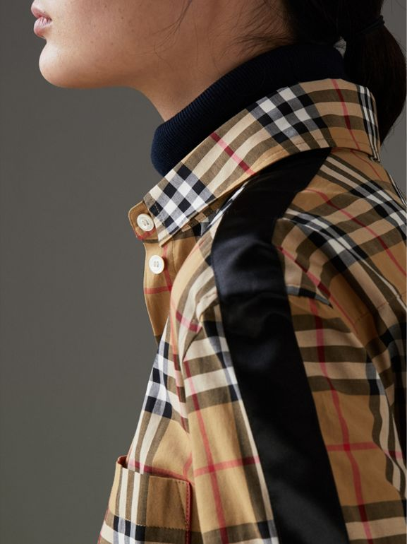 Stripe Detail Vintage Check Cotton Shirt in Antique Yellow - Women | Burberry Singapore - cell image 1