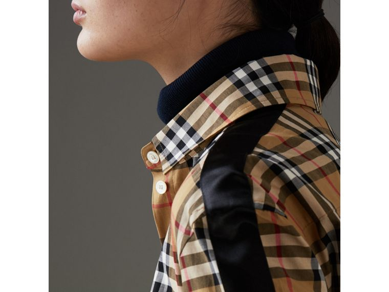 Stripe Detail Vintage Check Cotton Shirt in Antique Yellow - Women | Burberry - cell image 1