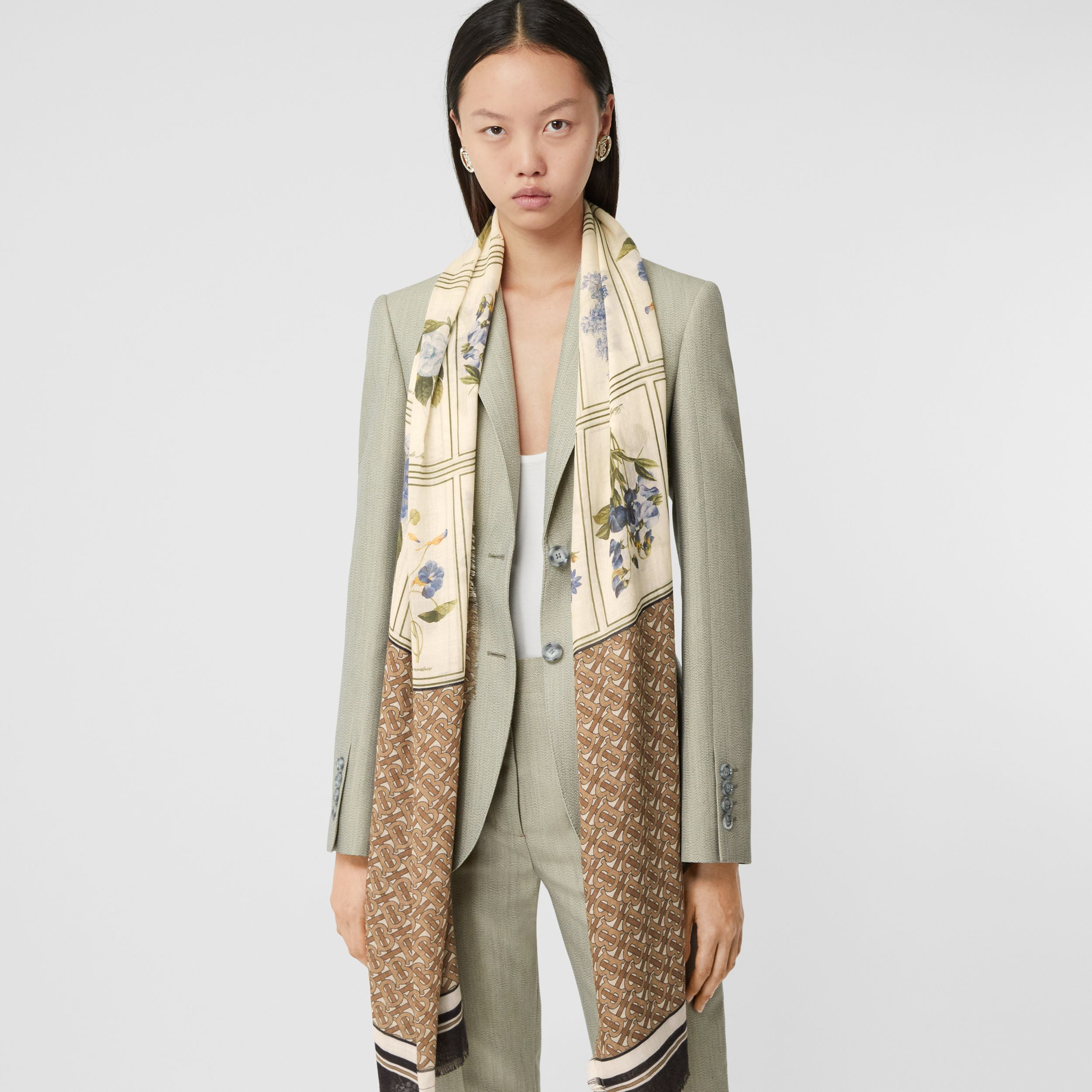 Botanical and Monogram Print Silk Wool Scarf in Archive Beige | Burberry - 3