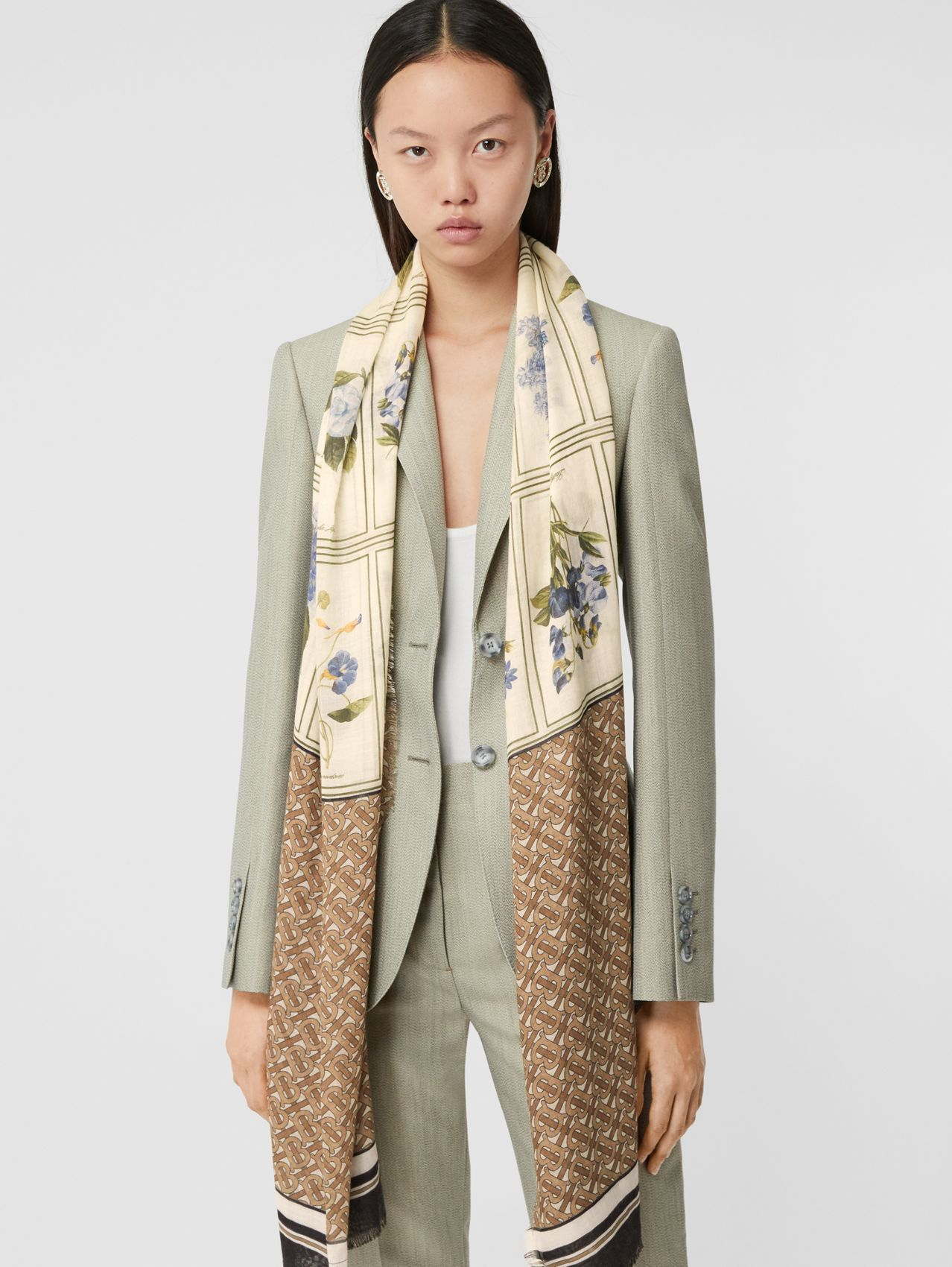 Botanical and Monogram Print Silk Wool Scarf (Archive Beige)
