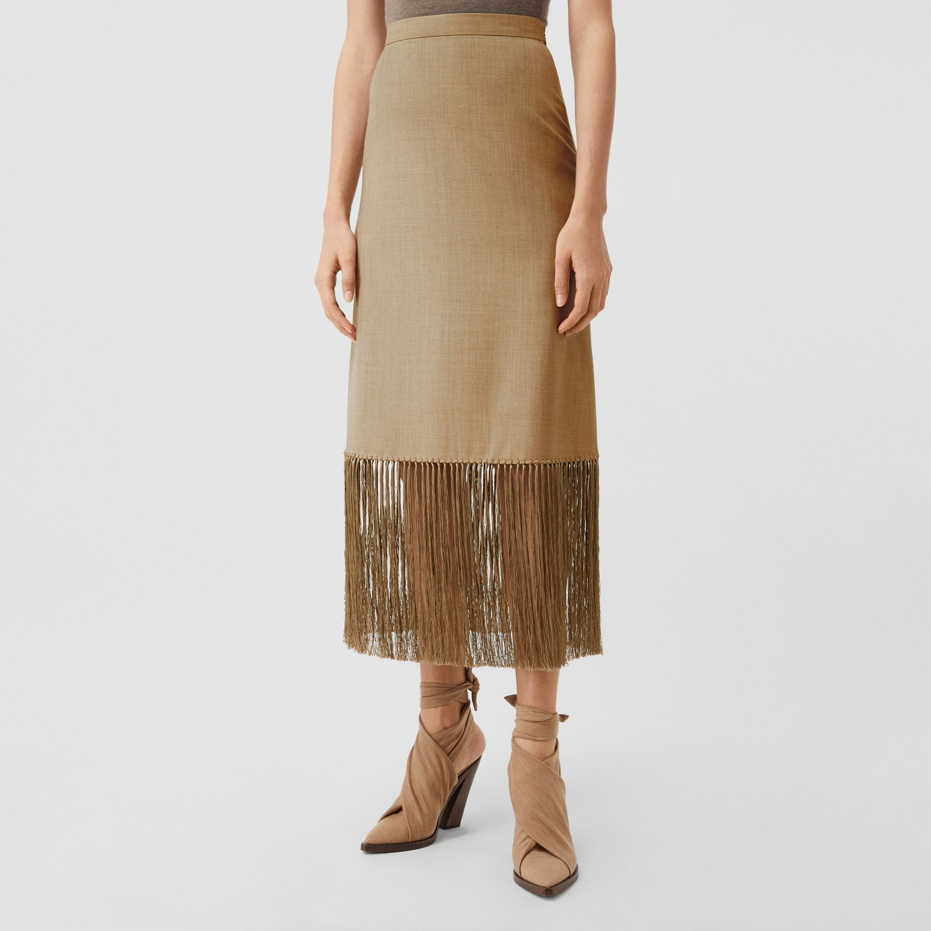 Fringed Wool Cashmere A-line Skirt in Pecan Melange - Women | Burberry - gallery image 4