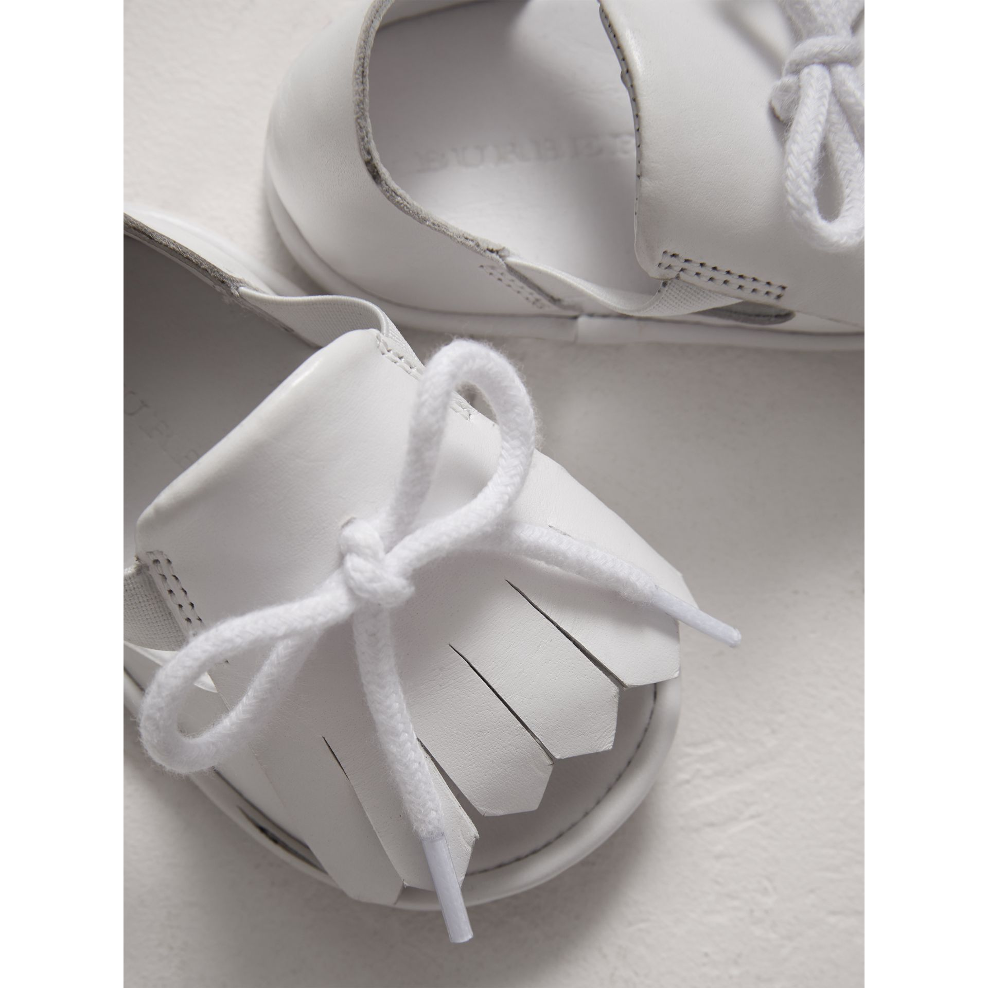 Kiltie Fringe Leather Sandals in Optic White - Children | Burberry - gallery image 1