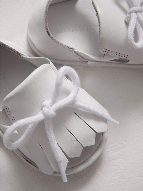 Kiltie Fringe Leather Sandals in Optic White - Children | Burberry - cell image 1