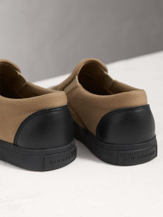 House Check and Leather Slip-on Trainers in Classic Check/black | Burberry - cell image 2