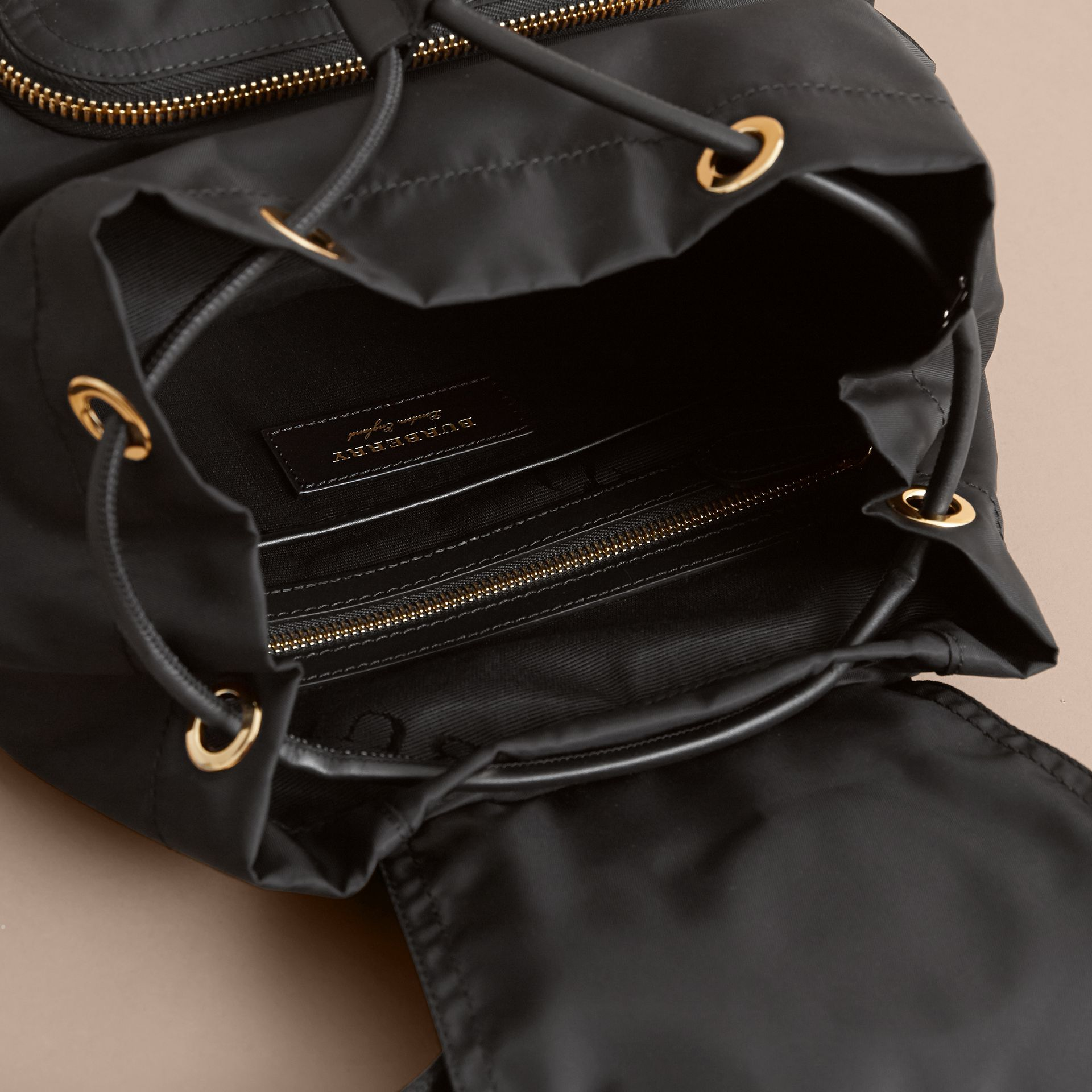 The Medium Rucksack in Technical Nylon with Pallas Heads Appliqué in Black - Women | Burberry - gallery image 5