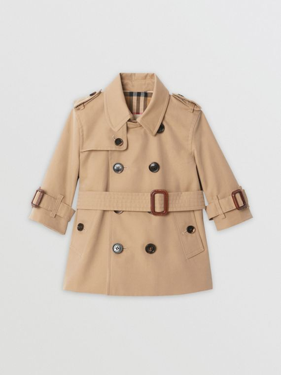 Cotton Gabardine Trench Coat in Honey