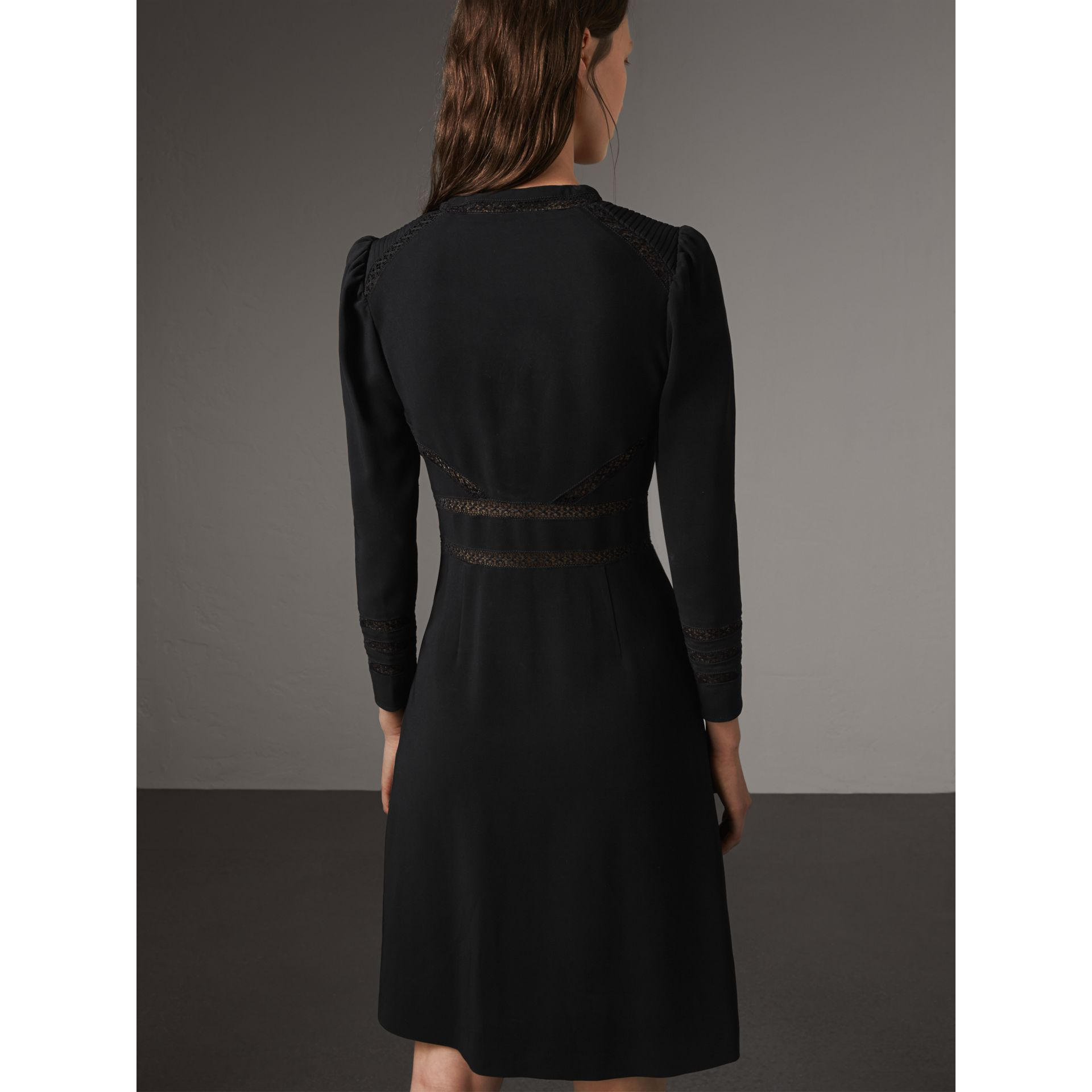 Lace Insert Fitted Dress in Black - Women | Burberry - gallery image 3