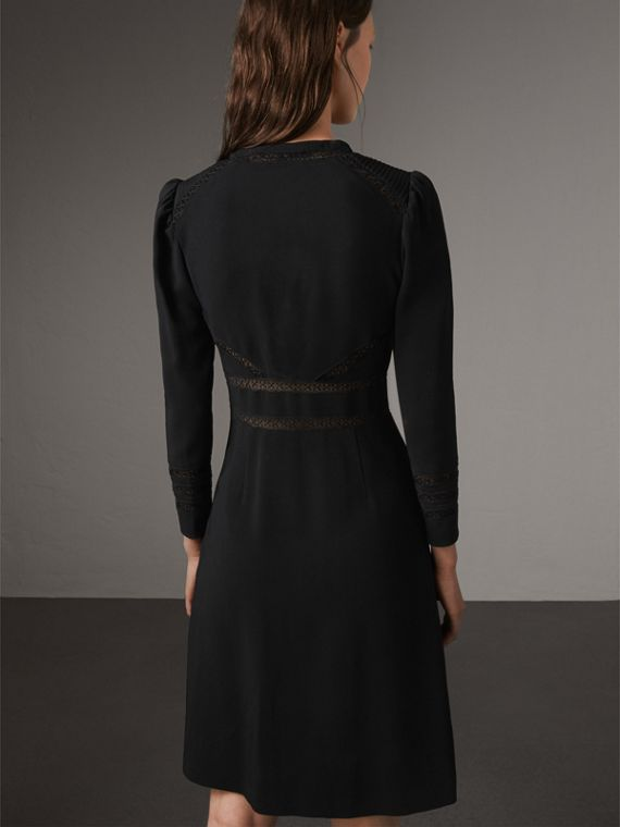 Lace Insert Fitted Dress in Black - Women | Burberry - cell image 2