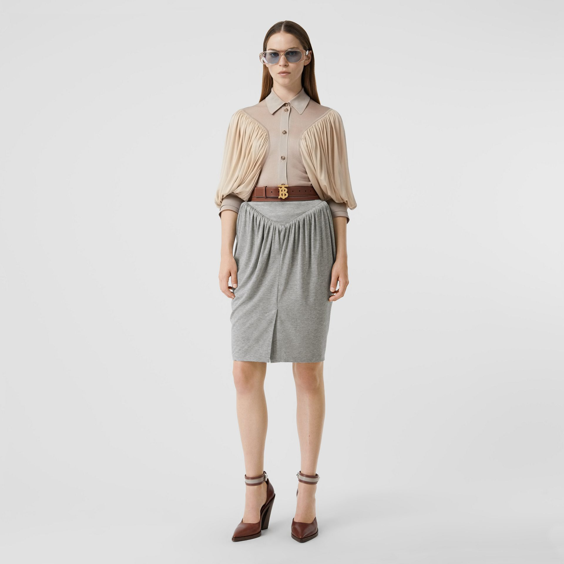 Gathered Jersey Sculptural Skirt in Pewter Melange - Women | Burberry United States - gallery image 0