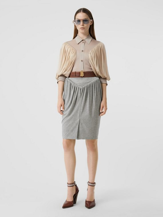 Gathered Jersey Sculptural Skirt in Pewter Melange
