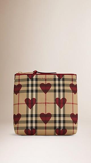Grande pochette à motif check et à cœurs bordée de cuir