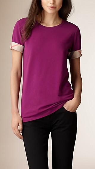 T-shirt en coton extensible avec revers de manche à motif check
