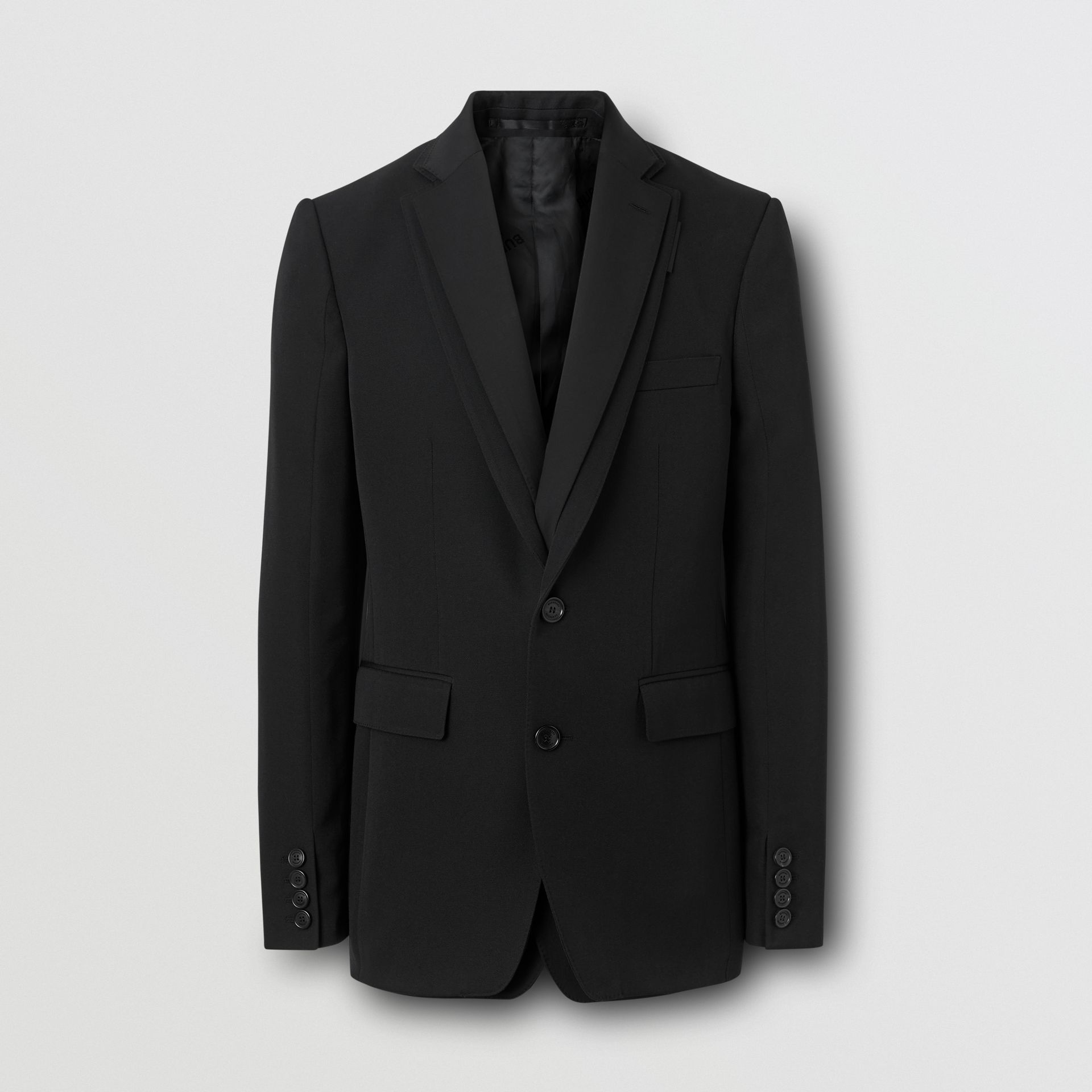 English Fit Reconstructed Wool Tailored Jacket in Black - Men | Burberry United Kingdom - gallery image 3