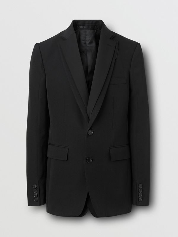English Fit Reconstructed Wool Tailored Jacket in Black - Men | Burberry United Kingdom - cell image 3