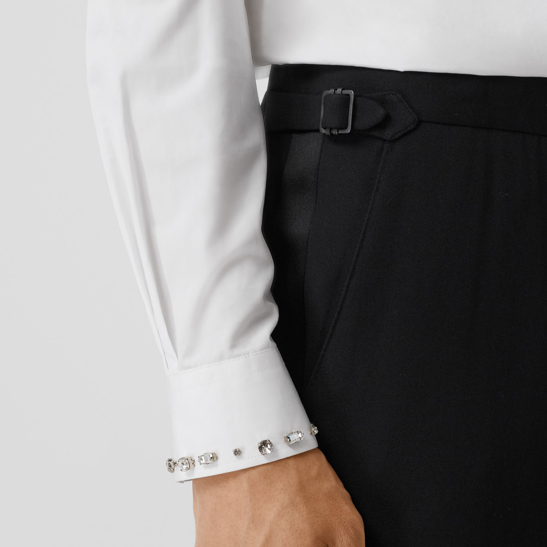 Classic Fit Silk Trim Wool Tailored Trousers in Black - Men | Burberry - gallery image 1